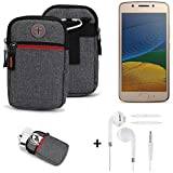 K-S-Trade® Gürtel-Tasche + Kopfhörer Für Lenovo Moto G5 Dual-SIM Handy-Tasche Holster Schutz-hülle Grau Zusatzfächer 1x