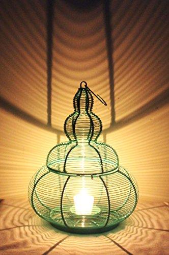 MAADES Orientalische Laterne aus Metall Almeida Grün 35cm   Orientalisches Marokkanisches Windlicht   Marokkanische Metalllaterne für draußen als Gartenlaterne, oder Innen als Tischlaterne (Grün)