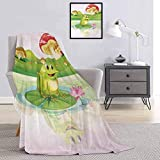 Animal Flannel Blanket Illustration of Cute Frog on Water Lily with Mushrooms on The Background Nature Lake Light, Plush, Fluffy, Warm and Comfortable Multicolor W55 x L55 Inch