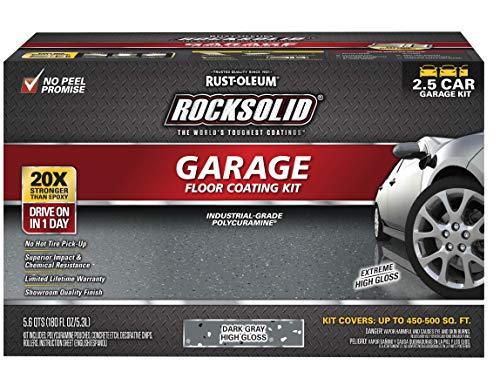 Rust-Oleum 317284 Rocksolid Polycuramine Garage Floor Coating, 2.5 Car Kit, Dark Gray
