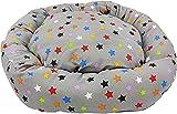Acomoda Textil - Cama Redonda Perros. Sofá Donut para Mascotas, Cama Resistente, Cómoda y Lavable. (Diámetro 55 cm, Estrellas)