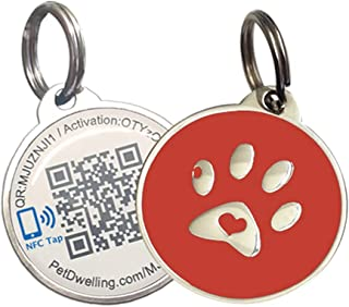 PetDwelling Smart Touch QR Code/NFC Pet ID Tag Links to Online Profile w/Scanned GPS Location Finder Stamp