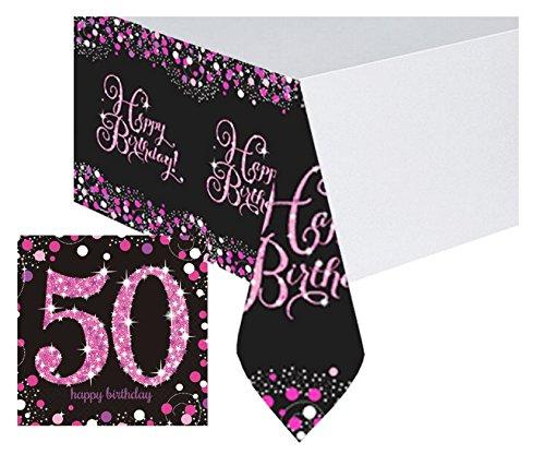 Feste Feiern Tischdekoration 50. Geburtstag | 17 Teile Deko-Set Tischdecke Servietten Pink Schwarz Lila Party Set Happy Birthday 50