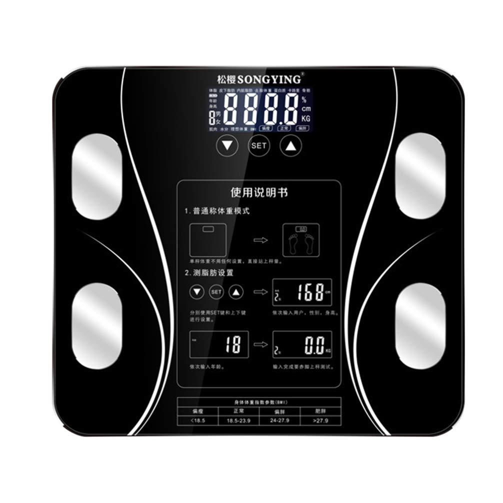 DOITOOL Báscula de grasa corporal inteligente USB recargable Digital Báscula composición corporal analizador para peso corporal grasa muscular masa (negro)