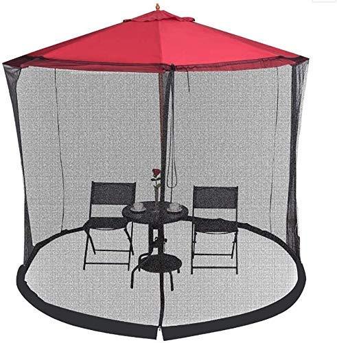 Filets anti-moustiques Parapluie Votre parasol dans un belvédère Couverture de moustique de jardin extérieur, moustiquaire Ombre Patio Parapluie moustiquaire avec porte à glissière, Filet de polyester