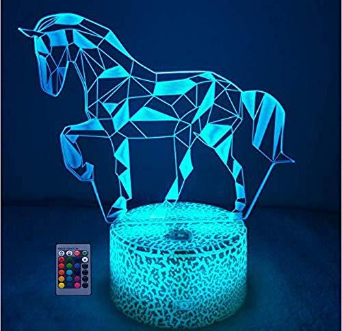 HPBN8 Ltd Creativo 3D Caballo Luz Nocturna Ilusión Optica Lámpara 7/16 Colores Control Remoto USB Power Juguetes Decoración Navidad Cumpleaños Regalo