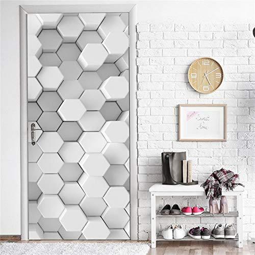 WZKED 3D Pegatinas De Puerta Geometría Blanca 77X200Cm Vinilo Impermeable Extraíble Murales De Papel Decorativos para El Hogar Baño Sala De Estar Niños Dormitorio Decoración
