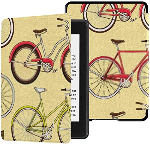 All-new Kindle Paperwhite Water-safe Fabric Cover(10th Generation, 2018 Release), Retro Pop Vintage Bicycle Bike Seamless Tablet Case