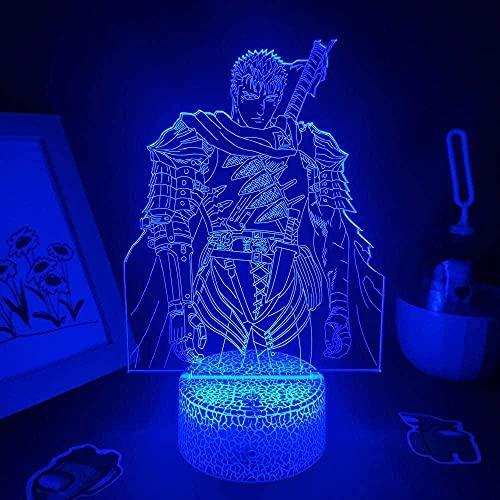 MHLYY Bersererk Anime Figure Mut 3D Lampen LED RGB Nachtlichter Weihnachten Geburtstag Neon Geschenk Für Freund Schlafzimmer Manga Couchtisch Tisch Dekoration-Fernbedienung