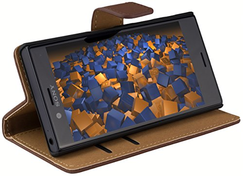 mumbi Tasche Bookstyle Case kompatibel mit Sony Xperia X Compact Hülle Handytasche Case Wallet, braun