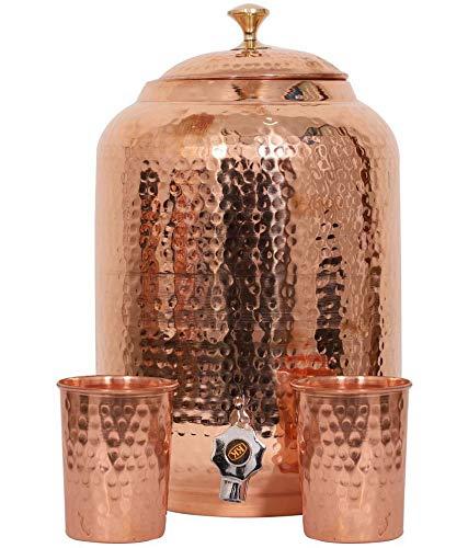 Handgefertigter Wasserspender aus reinem Kupfer, 4 Liter, Wassertopf, Matka Ayurveda, Heilwasserspeicher mit 2 Serviergläsern 8 LITER kupfer