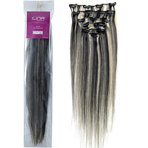 Lina 7Pcs Women Human Hair Clip In Silky Soft Straight Extensions #1/613 Black Mixed With Light Blonde Silky Soft