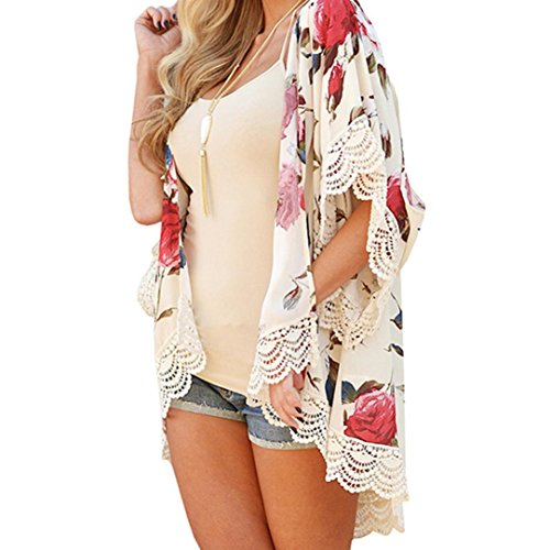 URSING_Damen Elegant Blumen Drucken Spitze Nähen Kimono Cardigan Frauen Chiffon Strand Lose Schals Strickjacke Tops Cover up Streetwear Sonnenschutz Beach Bikini Dress Boho Strandkleid (XL, Beige)