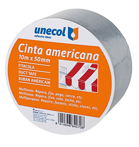 Unecol 8407 Cinta americana (rollo), Gris, 10 m x 50 mm