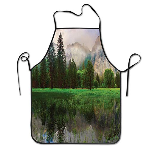 F-shop Sunset Panorama of Yosemite Cathedral Rocks Trees Cloudy Sky Reflection Riverside Beige Green Apron,Barbecue Aprons,Kitchen Apron