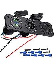 Deyooxi 3-en-1 Toma de Corriente de Panel multifunción Cargador Coche con LED Dual de Toma USB QC 3.0,Encendedor de Cigarrillos,Panel para Interruptores para Interruptores para Marina,Barco,Camión