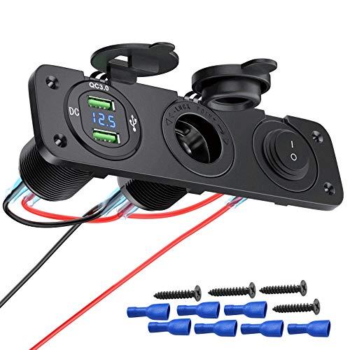 Deyooxi 3 in 1 QC 3.0 Auto USB Steckdose USB Car Charger Socket Panel mit LED Voltmeter,Zigarettenanzünder Splitter und Unabhängigem EIN/Aus-Kippschalter für 12V 24V Fahrzeuge Car Boat Truck Caravan