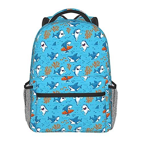 FJJLOVE Zaino Tote Sharks Borsa da scuola classica di piccole dimensioni Classic Basic Bookbag resistente all'acqua Zainetto casual con tasche laterali