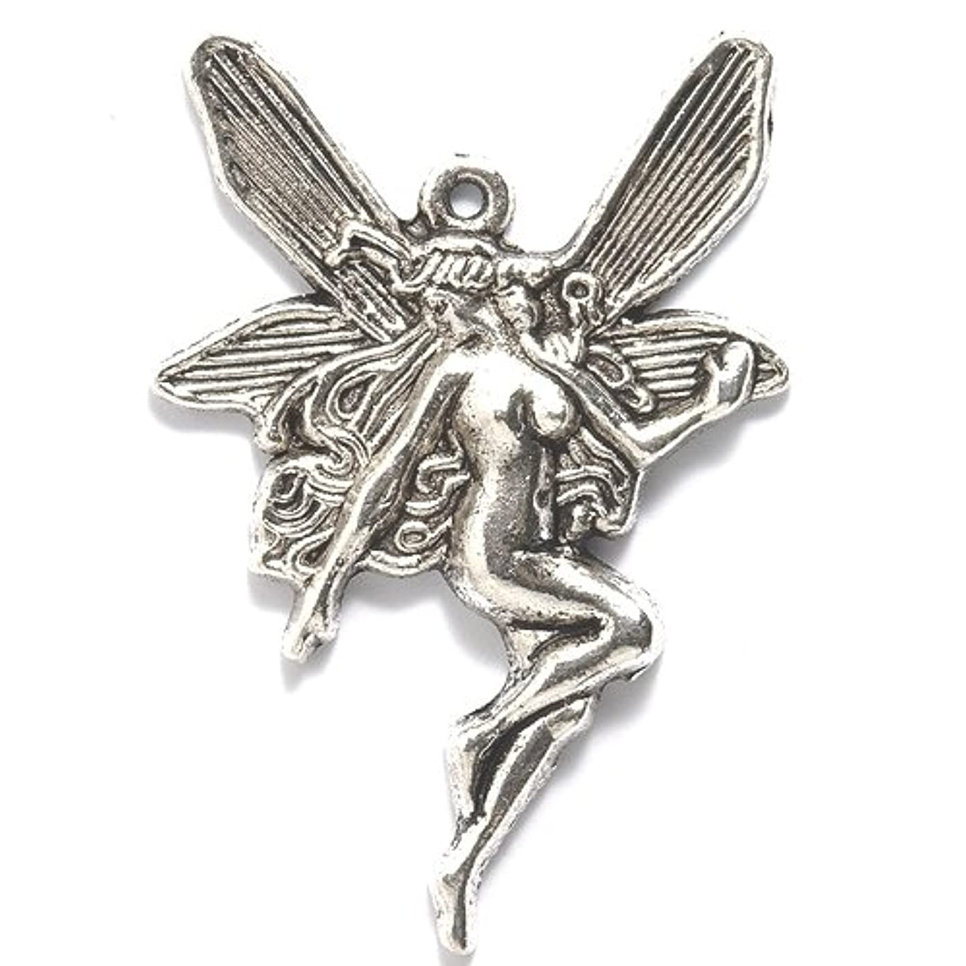 Shipwreck Beads Zinc Alloy Fairy with Long Hair Pendant, 30 by 44mm, Silver, 16-Pack