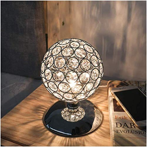 Lámpara de mesa de cristal plateado con forma de bola de luz nocturna, regulable, casquillo E27, sensor táctil, diámetro de sensor táctil para salón o dormitorio
