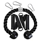 TBTD Msl Tricep Rope Cable Attachment and Cable Handles with 3 Carabiners,Compatible for Home Gym Exercise Pull Down and Bowflex Cable Machine System(Black