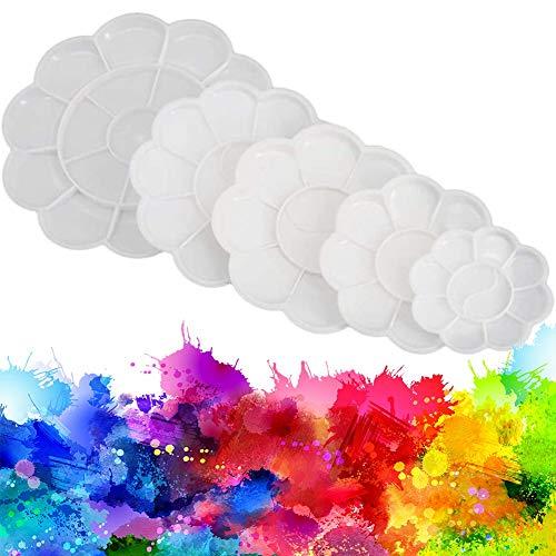 Paleta de pintura, NALCY Plástico medio pétalos de paleta pintura paleta de mezcla para pintura de los dedos, acrílico, agua color pintura, PACK de 5 (Diferentes tamaños)