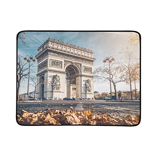 JEOLVP Arc De Triomphe befindet Sich in Paris Herbst tragbare und Faltbare Deckenmatte 60x78 Zoll handliche Matte für Camping Picknick Strand Indoor Outdoor Reise