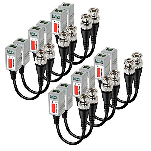Beauneo 6 pares (12 unidades) CCTV BNC Video Balun Transceptor Cable Negro + Plateado