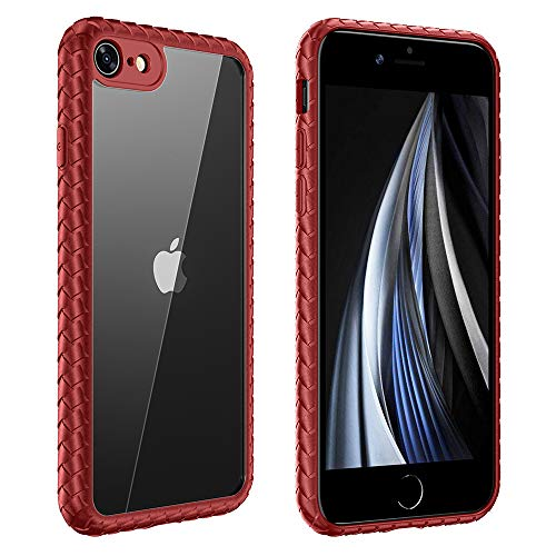 FMPCUON Funda Compatible con iPhone 7 / iPhone 8, Ultra Hybrid Protección Cáscara Caso Case Cover Cubierta, Slim Hardcase con Patrón Tejido, Telefono Movil Estuche + Vidrio Templado, Rojo