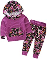 Baby Girls Floral Hoodie+ Floral Pant Set Leggings 2 Piece Outfits for 6M-3Y (12-18Months, Purple-red)