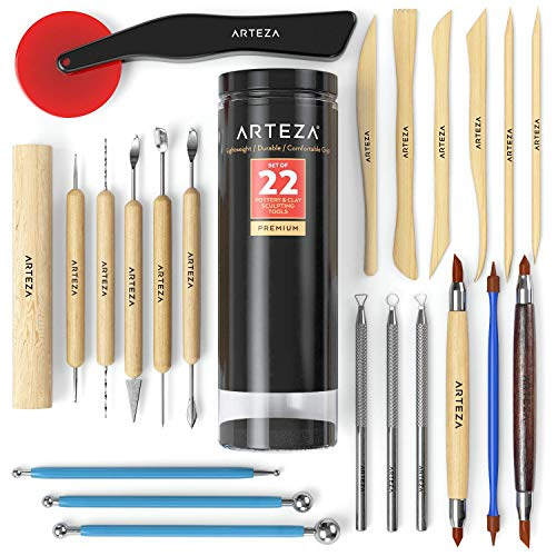 Arteza Pottery Tools & Clay Sculpting Tools, Set of 22 Pieces in PET Storage Tube, for Clay, Pottery, Ceramics Artwork & Holiday Crafts