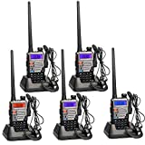 Retevis RT5RV Walkie Talkie Profesional Doble Banda 128Canales VOX Escanear DTMF Radio FM Emisora de Caza con Original Auricular (Negro y Plata, 5 Pacs)