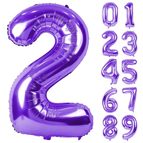 Lausatek Balloons Number 2 Number 40 Inch Large Birthday Happy Birthday Decoration Wedding Anniversary Party Purple About 90cm Purple