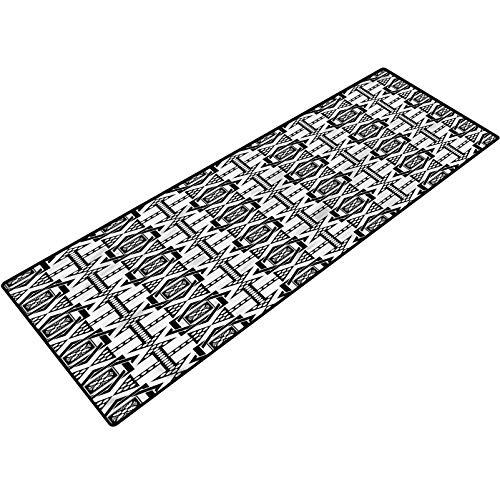 Black and White Indoor Doormat Celtic Star Print Bath Rugs and doormats 18x47 Inch