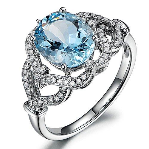 Sorpresa Auténtico Azul Aguamarina Prong Diamante Compromiso Boda para Mujer Sólido 14K Oro blanco Anillo Conjuntos Moda Joyería