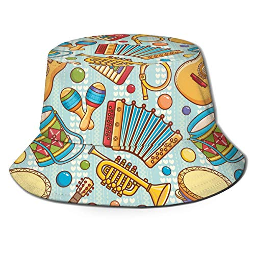 Instrumentos Musicales Unisex Juguetes Blue Love Stripes Print Travel Bucket Hat Summer Fisherman Cap Sun Hat