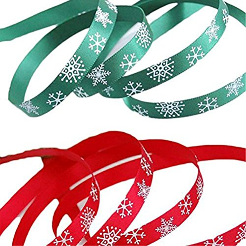 OULII Nastri di Raso per Natale Nastro con Fiocchi di Neve per Decorazione di 20 M in Verde e Rosso 2PCS