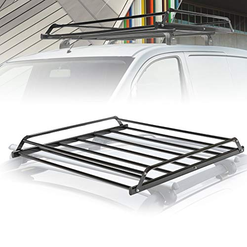 FieryRed Universal Rooftop Cargo Basket Heavy Duty Cargo Roof Carrier Rack Ideal for SUV,Truck,Car, Roof Top Luggage Carrier for Hauling Luggage. Size: L38 x W38 x H4.5, 1 Year Warranty