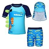Jurebecia Jungen Uv-Schutz Bade-Set Hai Badeshorts mit Mütze Kurzarm-Hautausschlagschutz Badeanzug UV-Schutz 2-7 Jahre