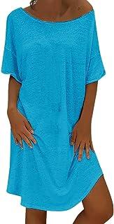 Auifor, Vestido de Las Mujeres del Estilo del Verano del Vestido Femenino de Las Mujeres del algodón Ocasional más el Vestido de Las señoras