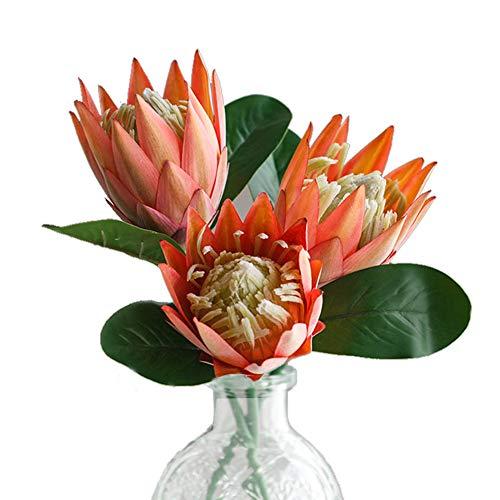Fiori artificiali in seta con Cynaroides in plastica per composizioni floreali, bouquet per centrotavola da matrimonio, 3 pezzi (arancione)