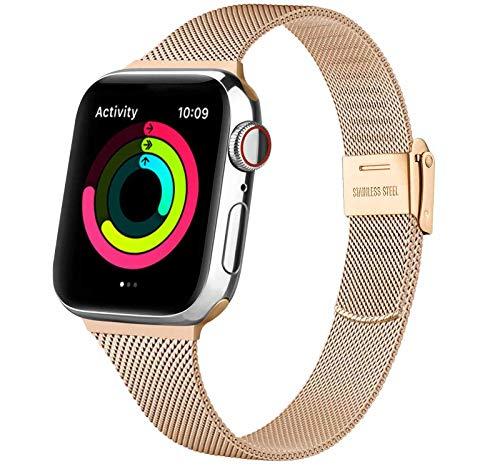 Acciaio Cinturino per Apple Watch Cinturino 38mm 40mm 42mm 44mm, Metallo Sottile Cinturini Compatibile con Apple Watch iWatch Series 6 5 4 3 2 1 SE, con Strumenti (Oro Rosa 38/40MM)