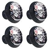 DEYYA Rose Flower Dead Sugar Skull Head Glass Cabinet Knobs 4 Pcs 30mm Drawer Handles for Kitchen Cabinets Dresser Cupboard Wardrobe