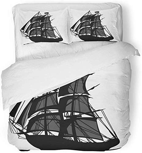 Juego de funda nórdica de decoración Colonial Sailing Barco pirata con velas Graphic Boat Revolutionary War Flying Man 3 piezas Juego de ropa de cama con estampado de tela de microfibra cepi