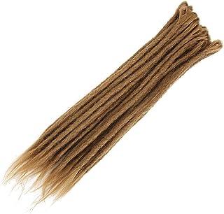 مجموعة كروشيه جدائل الشعر بتصميم ريجي هيب هوب المصنوعة يدويا - لون بني فاتح، عبوة من 10 قطع