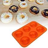 Donutform, Silikon-Donut-Backform mit 6 Vertiefungen(Orange)