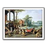 ArtWall Pieter Bruegel 'A Satire of the Tulip Mania' アンラップ キャンバスアート 28 x 36インチ