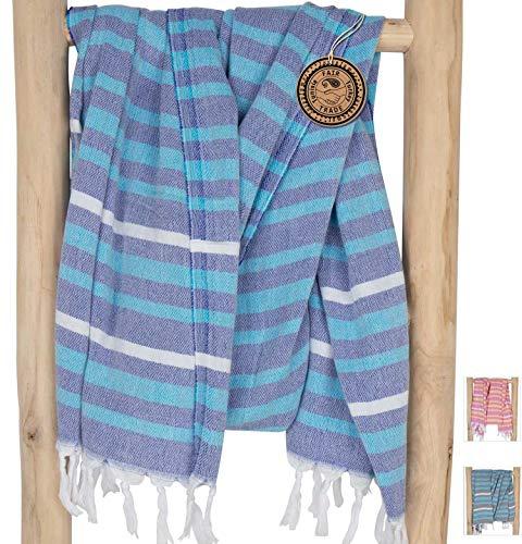 ZusenZomer Fouta Playa Gigante IBIZA 150x210 - Toallas Hammam XXL Toalla Turco Extra Grande - Ideal para Vacaciones Playa Picnic - 100% Algodón - Foutas Playa Comercio Justo (Azul, Blanco)