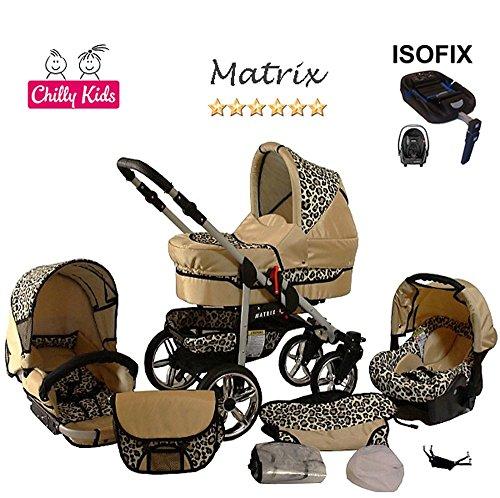 Chilly Kids Matrix 2 poussette combinée Set – hiver (chancelière, siège auto & ISOFIX, habillage pluie, moustiquaire, roues pivotantes) 42 crème & léopard