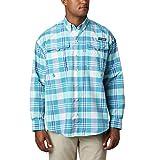 Columbia Camisa de Manga Larga Super Bahama para Hombre, Hombre, 1438951, Bright Aqua Multi Plaid Cover Case Negro, XL